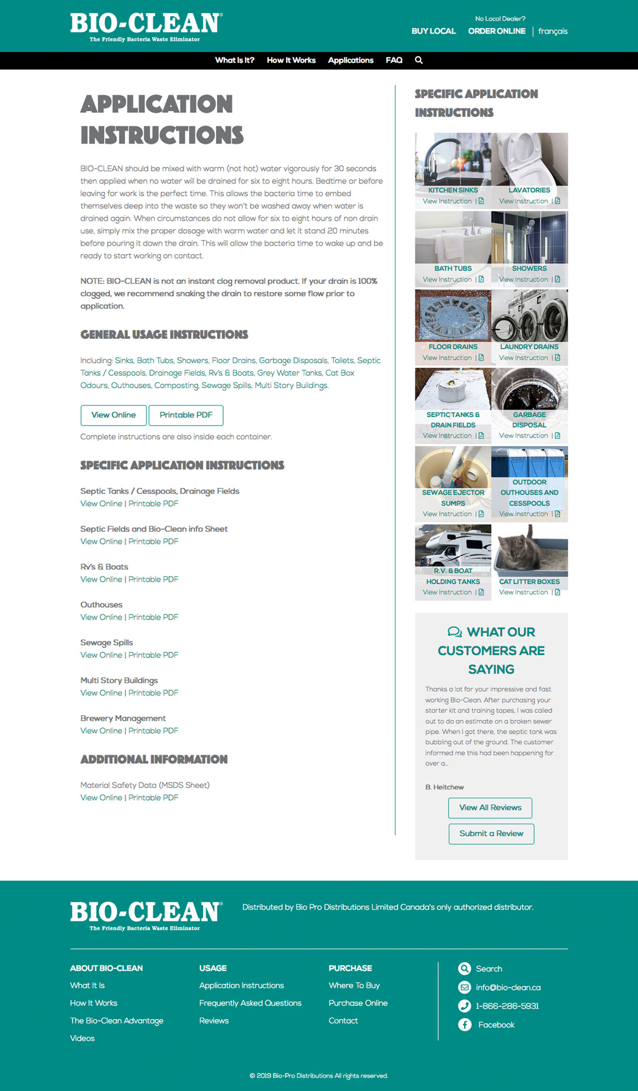 Bio-Clean Applications Page