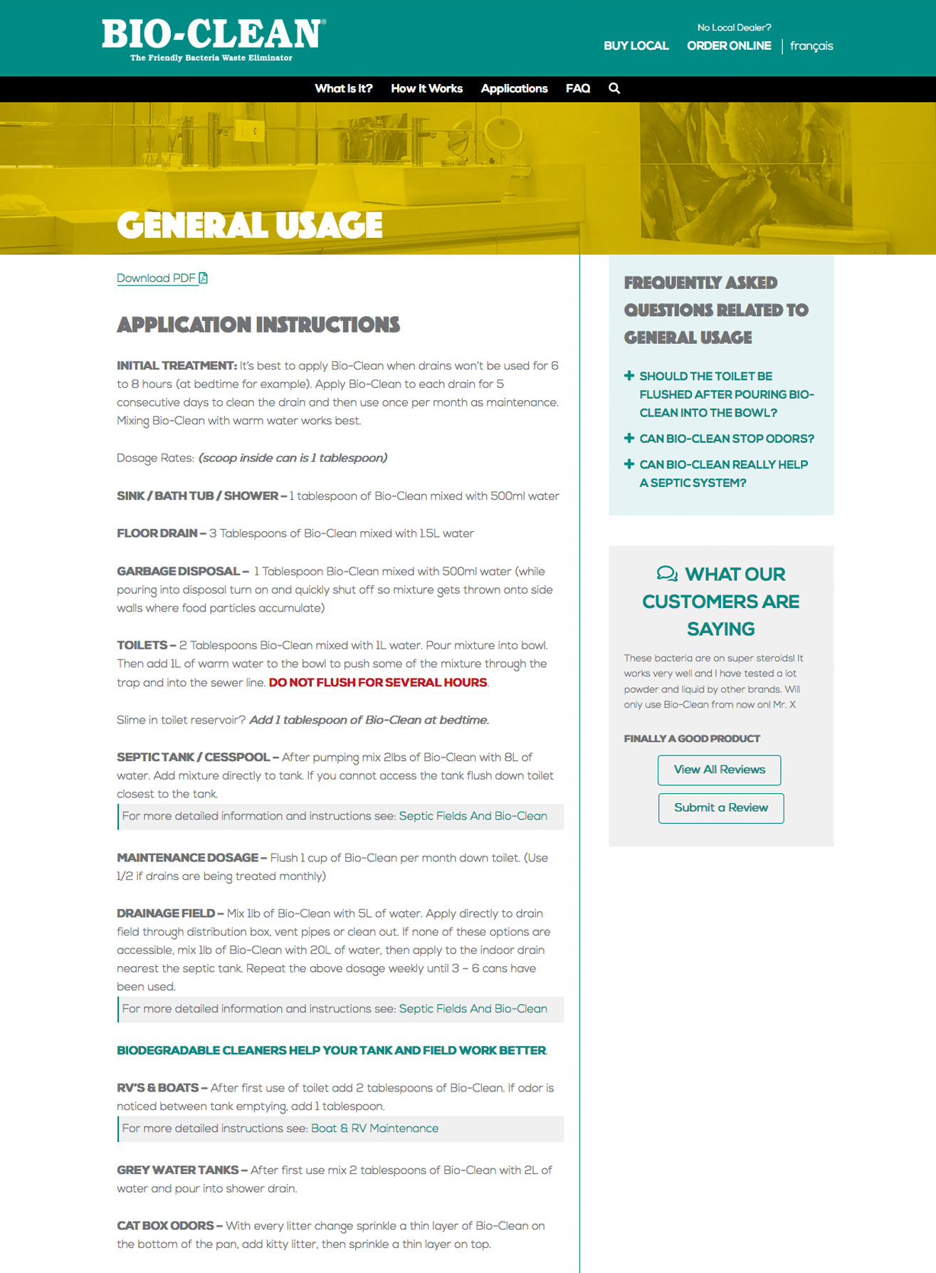 Bio-Clean Usage Instructions Template
