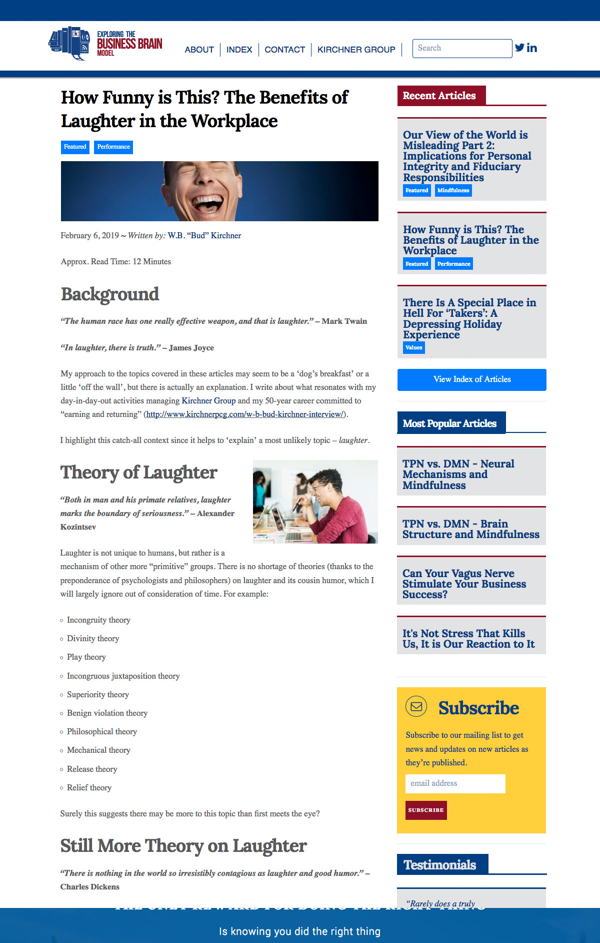 Exploring the Business Brain Site Article Template