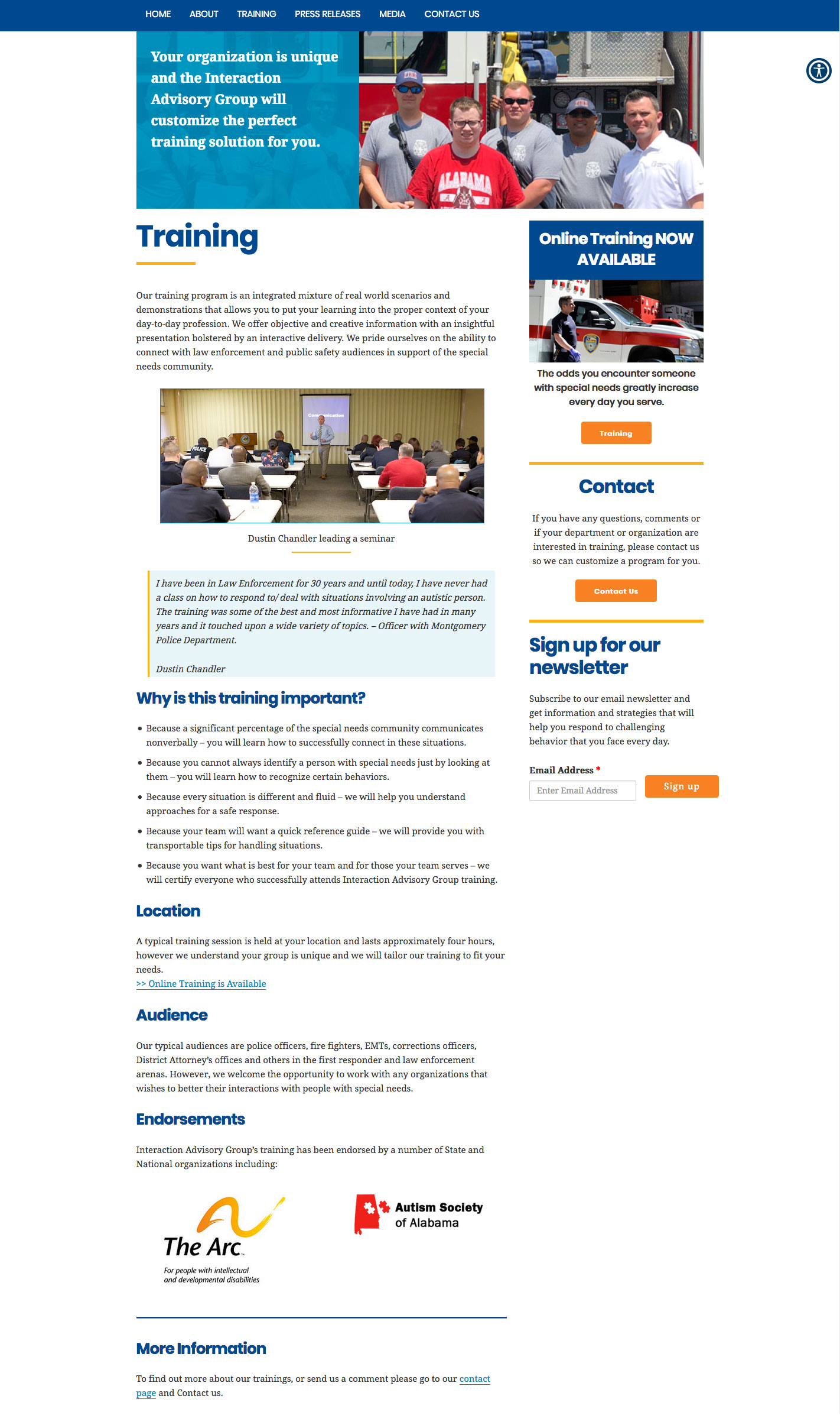 Interaction Advisory Group Website - Content Page