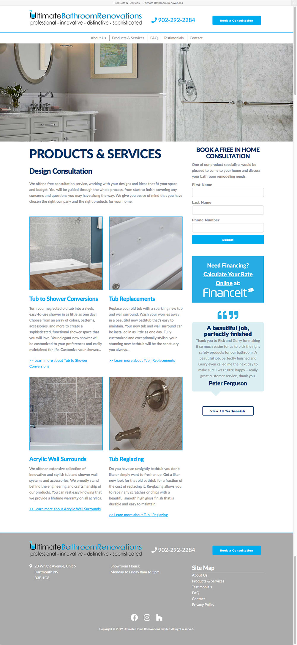 Ultimate Bathroom Renovations Services Page